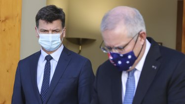 Minister for Energy and Emissions Reduction Angus Taylor and Prime Minister Scott Morrison