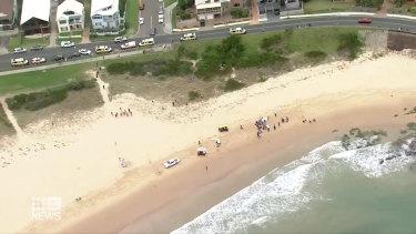 The scene at Woonona Beach on Saturday.