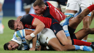 England No.7 Sam Underhill in action against Argentina in Tokyo on Saturday.