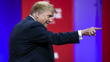 US President Donald Trump pictued at the Conservative Political Action Conference in Maryland on Saturday.