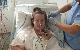 Madi Stewart is recovering from heart surgery at the Sydney Children's Hospital in Randwick.