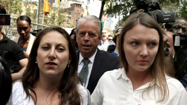 Michelle Licata, left, and Courtney Wild, alleged victims of Jeffrey Epstein, outside the federal court in New York on Monday.