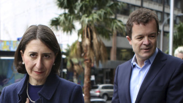 Policy switch: As environment minister Mark Speakman (right) prepared comprehensive climate policies that did not survive the elevation of Gladys Berejiklian to the role of Premier in 2017, documents show.