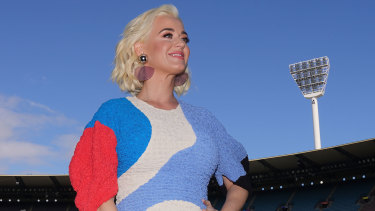 American singer Katy Perry poses ahead of the Women's T20 World Cup final at the MCG.