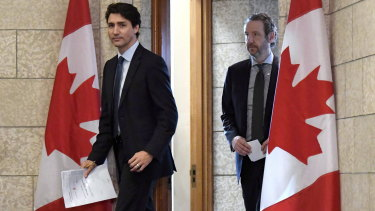 Canadian Prime Minister Justin Trudeau leaves his office with then principal secretary Gerald Butts last year.
