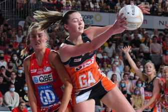 With both hands: Giants goal attack Sophie Dwyer gathers the ball during the 2021 grand final.
