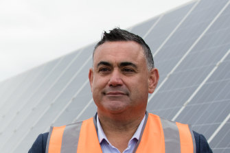 John Barilaro, at a solar farm near Dubbo on Tuesday, will be in the Hunter Valley on Wednesday to unveil the state's coal strategy.
