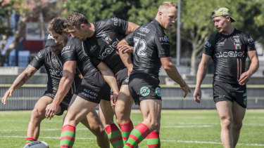 What a mess: The Rabbitohs train at Redfern Oval on the eve of their semi-final match against the Dragons.