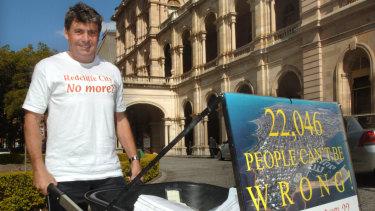 Then-Redcliffe mayor Allan Sutherland, now Moreton Bay mayor, campaigning against the amalgamation in 2007.