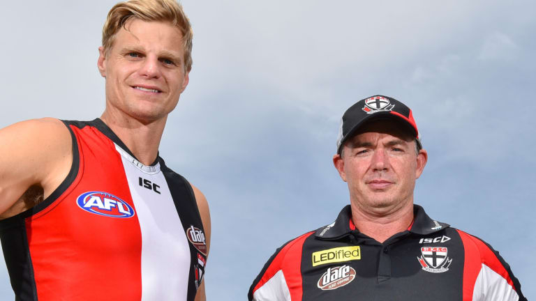 Nick Riewoldt, in his playing days, with coach Alan Richardson.