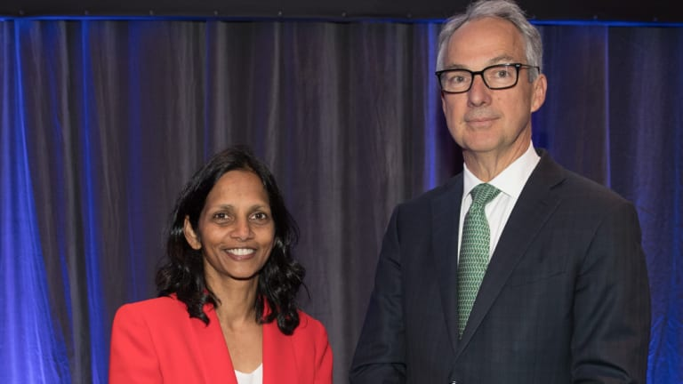 New Macquarie CEO Shemara Wikramanayake with outgoing CEO Nicholas Moore.