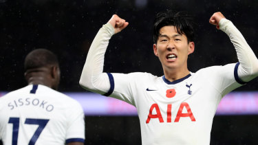 Heung-Min Son of Tottenham Hotspur celebrates a goal but his side could still only manage a draw.