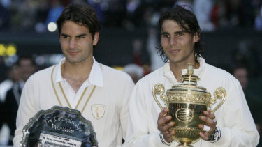 Epic: Roger Federer and Rafael Nadal after their Wimbledon final in 2008.