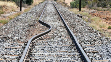 A railway track that was bent in the heat near Speed in western Victoria.