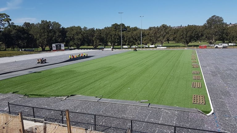 Artificial: Woollahra No.1 has been transformed from a regular turf field to a high-tech synthetic pitch.
