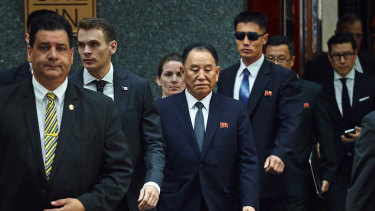 North Korea's Kim Yong-chol, centre, leaves a hotel in New York, on Wednesday.