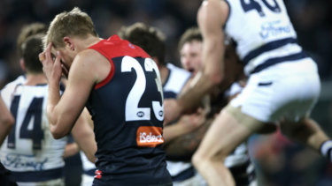 Melbourne's Bernie Vince reacts as the Cats celebrate their victory.