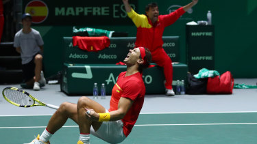 Rafael Nadal celebrates match point in his semi-final doubles match with Feliciano Lopez against Jamie Murray and Neal Skupski of Great Britain.