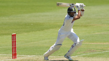 Cheteshwar Pujara on his way to a half-century for India against Australia A on Sunday.