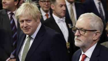 British Prime Minister Boris Johnson, left, and Opposition Leader Jeremy Corbyn,  during the state opening of Parliament, in London, last month.
