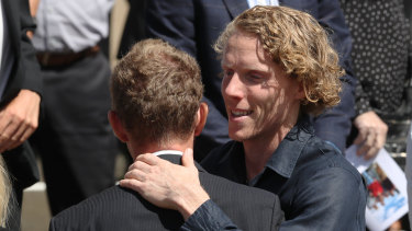 Hooker at Plant's funeral on Wednesday.