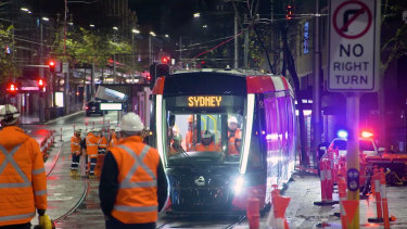 A tram in testing on George Street.
