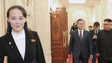 Kim Yo-jong, left, sister of the North Korean leader, walks ahead of South Korean President Moon Jae-in and Kim Jong-un.