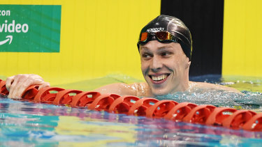 Zac Stubbletey-Cook after winning the men's 200m breaststroke event.