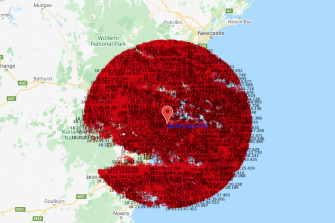 A map showing lightning strikes within a 100-kilometres radius of Sydney between 8pm on Tuesday and 2am on Wednesday.