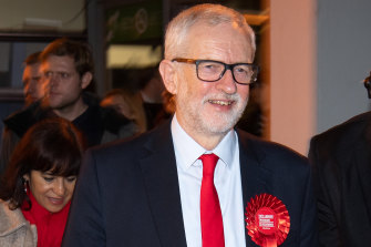 Labour Party leader Jeremy Corbyn leaves the vote count in his Islington North constituency on Friday.