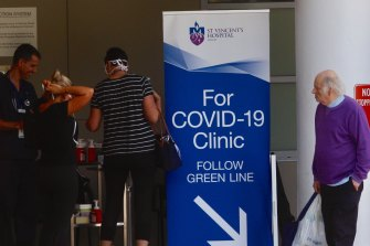 A Covid-19 testing station out the front of St.Vincents hospital in Darlinghurst in preparation for larger numbers of infection as the pandemic continues on its global march.