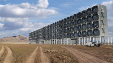 """A digital image showing """"direct air capture"""" technology which removes carbon dioxide from the atmosphere deployed on a large scale."""