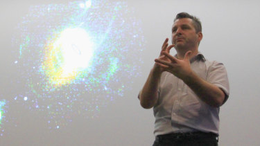 Professor Geraint Lewis at the Macarthur Astronomy Forum in Campbelltown, NSW.