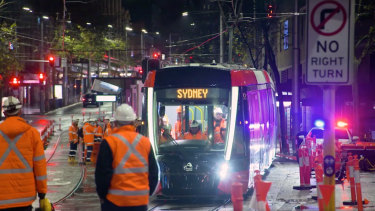 Night-time testing of a tram on George Street.