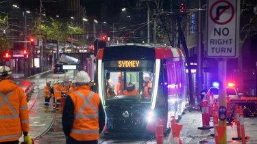 A tram in testing on George Street.