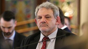 Premier Annastacia Palasaszczuk's chief of staff David Barbagallo during estimates hearings in July.