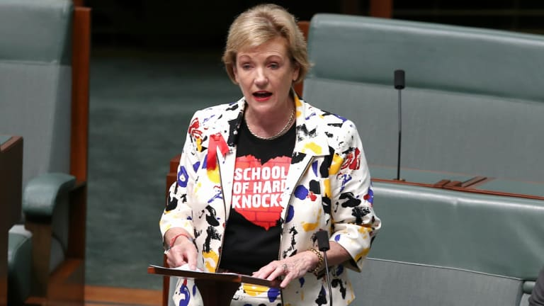 Member for Ryan, Jane Prentice, delivers a statement ahead of Question Time at Parliament House in Canberra.