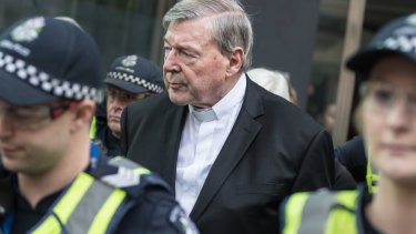 George Pell outside court last year.
