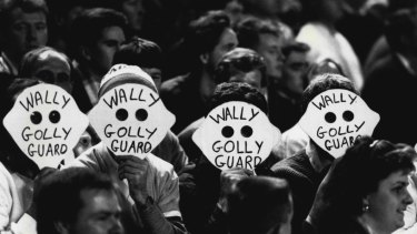 Some in the crowd thought up defences of their own against Wally Lewis's tactics at State of Origin game II, 1989.