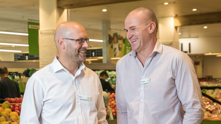 Woolworths' digital and payments boss Paul Monnington (left) and Double Bay store manager Mathew Walsh.
