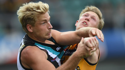 The joy of six for Gunston as Hawk spurs win over Port Adelaide