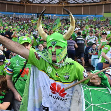 Raiders fans turned the NRL grand final into a sea of lime green.