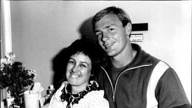 Brian Johnson with his wife Karen in 1984.