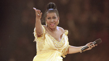 Aretha Franklin performs at the inaugural gala for President Bill Clinton in Washington in 1993.