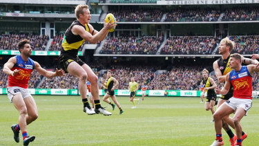Top flight: Jack Riewoldt was a leading light up forward for the Tigers in a crucial win over the second-placed Lions.