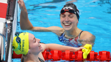 Ariarne Titmus and Katie Ledecky after it was all over.