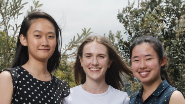 Left to right, Jocelin Shing-Yan from James Ruse Agricultural High School, Louise Godhard from SCEGGS Darlinghurst, and Eunice Wah Yan Cheng from James Ruse.