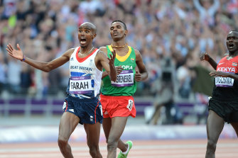 Mo Farah wins the men's 5000m at the London Olympic Games.