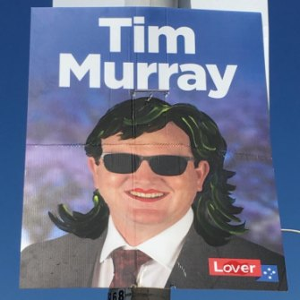 A defaced poster for the ALP's Tim Murray.
