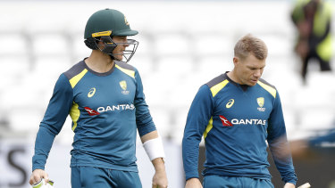 David Warner (right, alongside captain Tim Paine) has failed to reach double figures in all four innings this series.